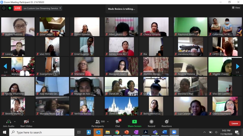 General church leaders participate in a virtual meeting with members in the Philippines Area in November 2020.