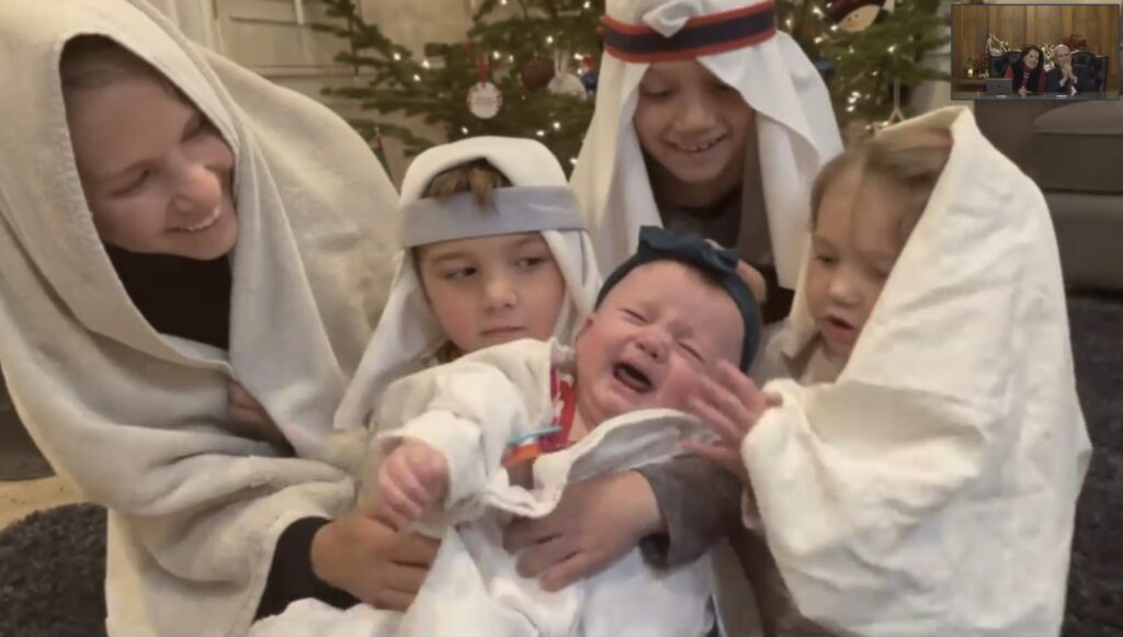 During a 45-minute virtual gathering on Sunday, Dec. 20, 2020, President Russell M. Nelson of The Church of Jesus Christ of Latter-day Saints and his wife, Sister Wendy W. Nelson, watch as Nelson's daughters sing a Christmas carol.