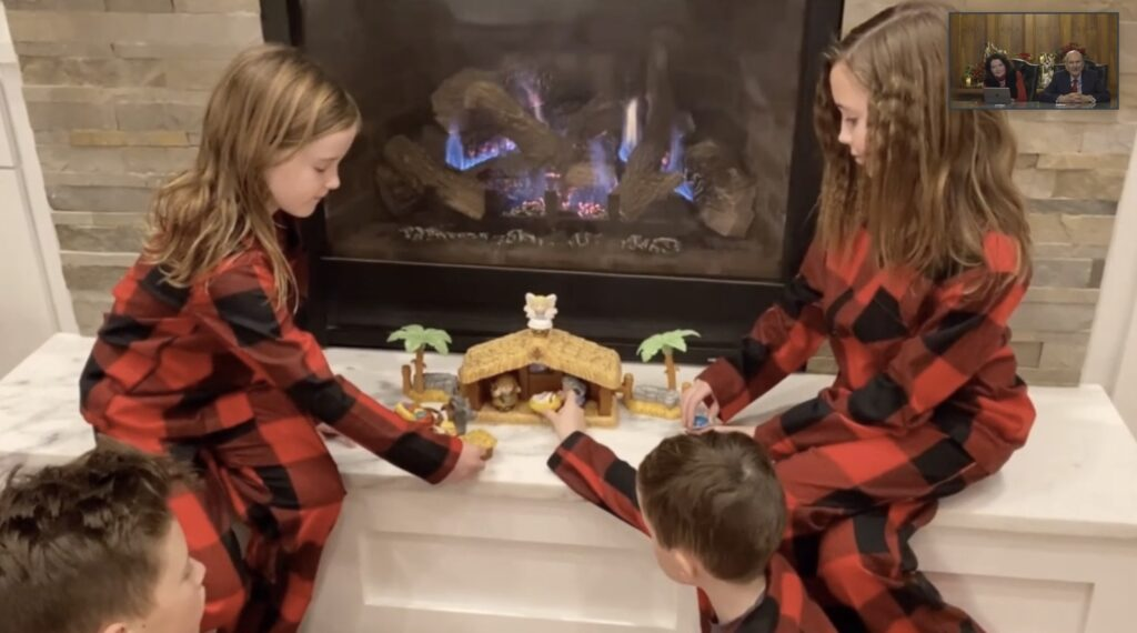 During a 45-minute virtual gathering on Sunday, Dec. 20, 2020, President Russell M. Nelson of The Church of Jesus Christ of Latter-day Saints and his wife, Sister Wendy W. Nelson, watched as Nelson family members sang Christmas carols and shared photographs of family members recreating the Christmas Nativity.