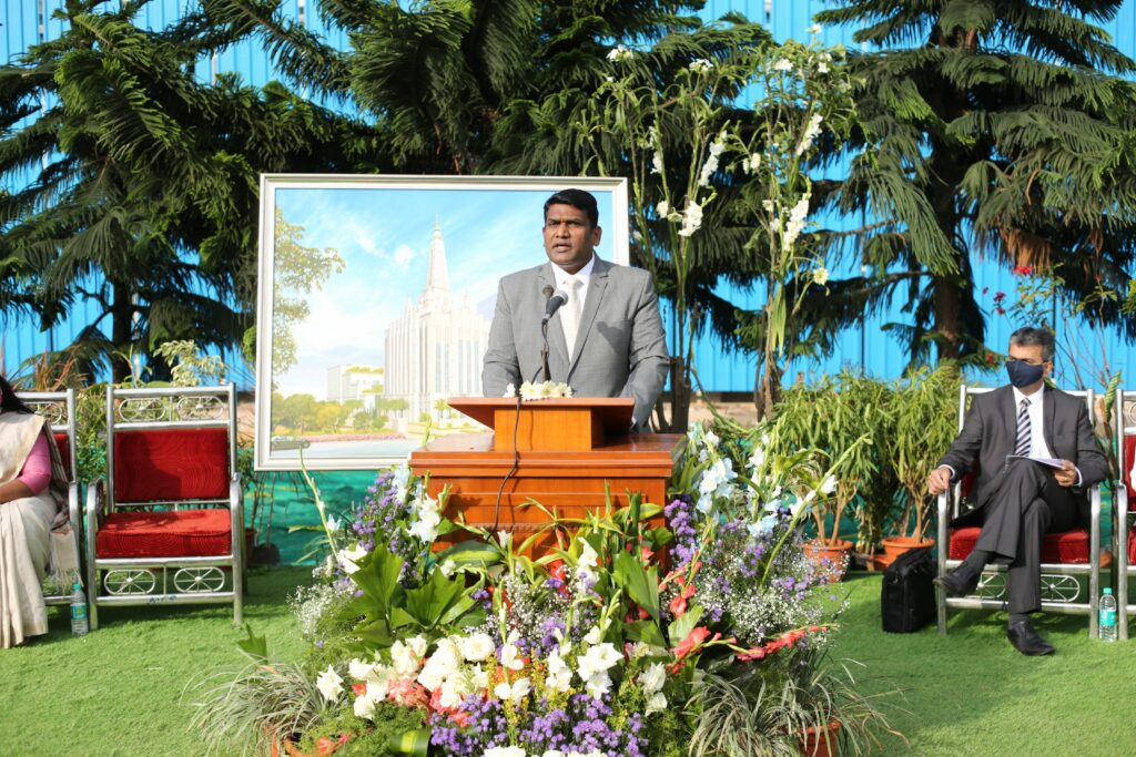 President NithyaKumar Sunderraj, president of the Bengaluru India Stake, comments on the historic day for Latter-day Saints in India during the Bengaluru temple groundbreaking ceremony Wednesday, Dec. 2, 2020.