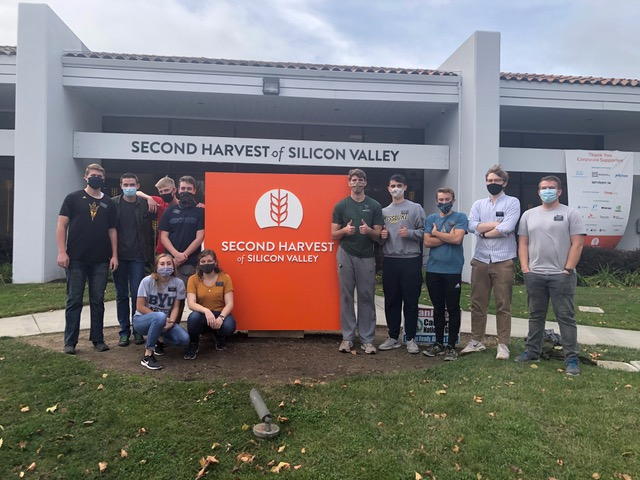 Elders and sisters from the California San Jose Mission stand outside the Second Harvest of Silicon Valley facility. The missionaries have donated more than 10,000 volunteer hours to help provide food for Bay Area people in need.