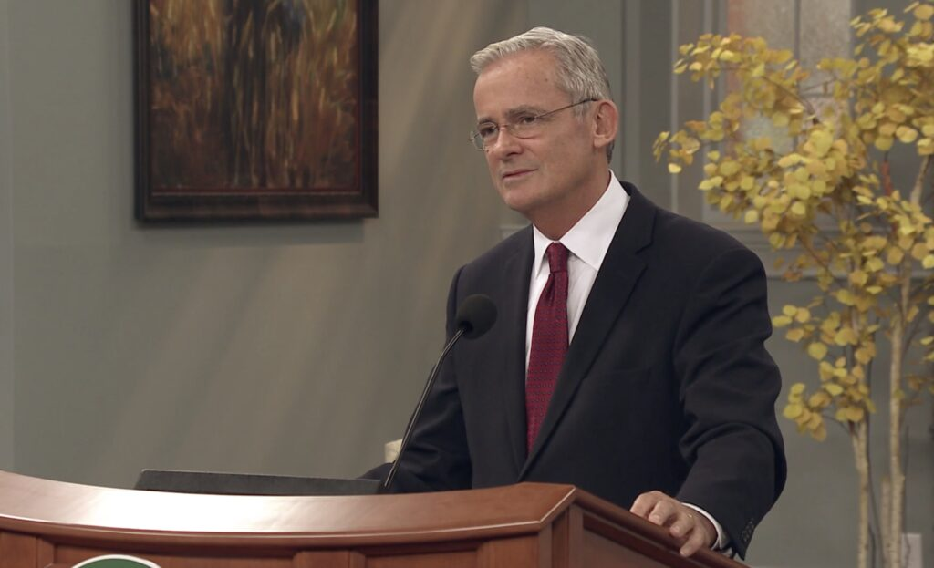 Elder Patrick Kearon speaks to Ensign College students during a devotional broadcast on Tuesday, Dec. 1, 2020.