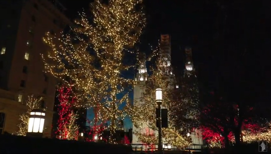 "The lights on Temple Square as shown during the virtual Temple Square concert ""Celebrating the Light of the World"" on Tuesday, Dec. 1, 2020."