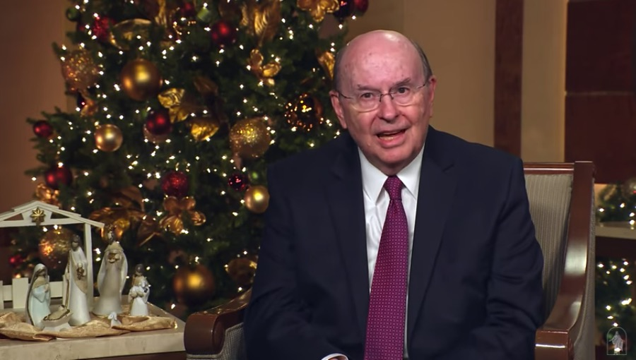 "Elder Quentin L. Cook testifies of the Savior Jesus Christ during the virtual Temple Square concert ""Celebrating the Light of the World"" on Tuesday, Dec. 1, 2020."