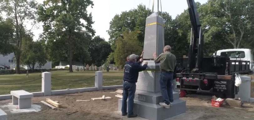 A monument honoring five generations of Joseph Smith's ancestors is constructed in the Pine Grove Cemetery in Topsfield, Massachusetts, in September 2020.