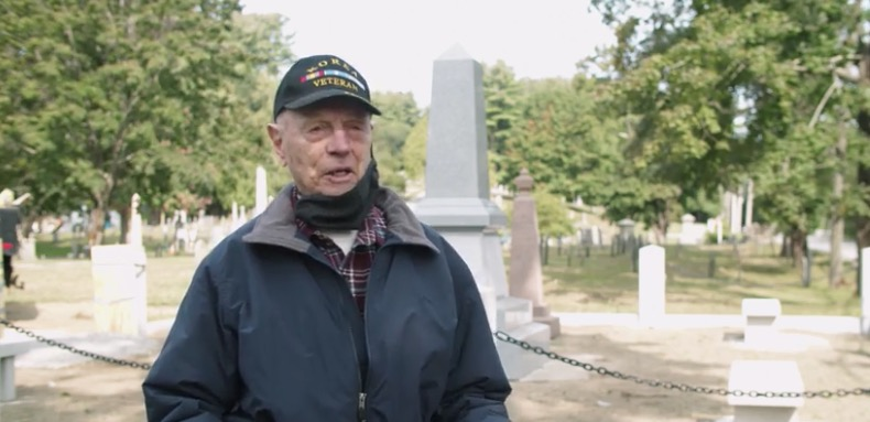 Norman Isler, president of the Topsfield Historical Society, talks about the significance of the new monument honoring Joseph Smith's ancestors in the Pine Grove Cemetery in September 2020.