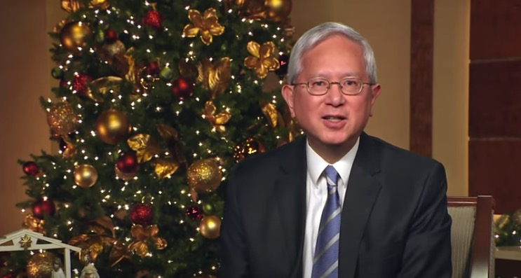 "Elder Gerrit W. Gong reads part of Luke 2 in Mandarin during the virtual Temple Square concert ""Celebrating the Light of the World"" on Tuesday, Dec. 1, 2020."