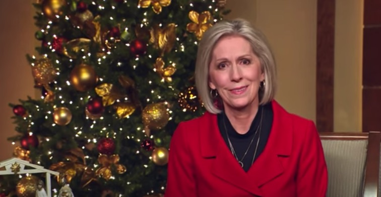 """Primary General President Joy D. Jones reads part of Luke 2 during the virtual Temple Square concert """"Celebrating the Light of the World"""" on Tuesday, Dec. 1, 2020."""