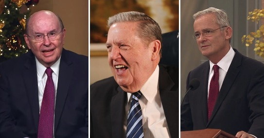 Elder Quentin L. Cook, left, spoke during the Christmas on Temple Square concert on Dec. 1, 2020; Elder Jeffrey R. Holland, middle, was featured in a Church News video and podcast this week; and Elder Patrick Kearon spoke to Ensign College students on Dec. 1.