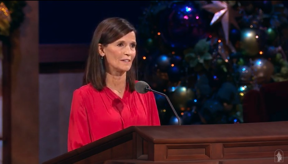 Sister Becky Craven speaks during the First Presidency Christmas Devotional broadcast from the Conference Center Theater in Salt Lake City on Sunday, Dec. 6, 2020.