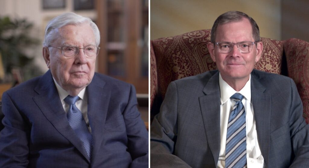 President M. Russell Ballard, left, is featured in a Church News video about a new monument honoring Joseph Smith's ancestors in Topsfield, Massachusetts; Elder Gary E. Stevenson speaks to BYU-Pathway Worldwide Students on Tuesday, Dec. 8, 2020.
