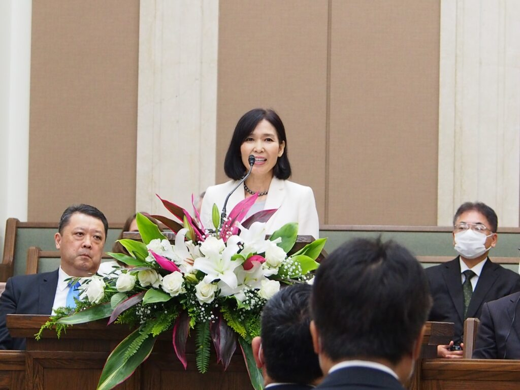 Sister Naomi Wada, Elder Takashi Wada's wife, addressed a small group of Latter-day Saint leaders and invited guests gathered in Okinawa, Japan, for the temple groundbreaking on Saturday, Dec. 5, 2020.