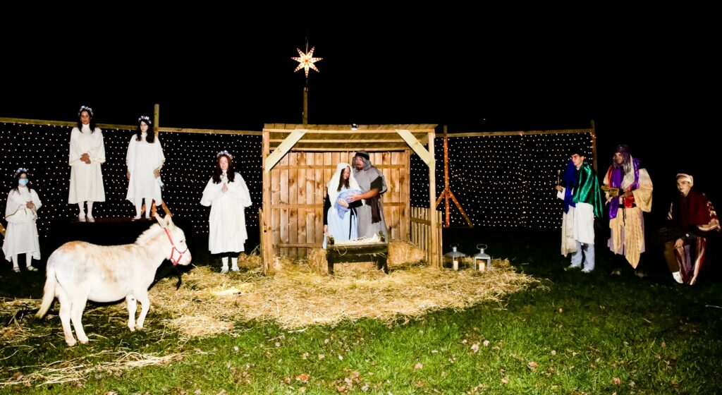 Members of the McLean Virginia Stake participate in the drive-thru Nativity and food drive hosted on Dec. 11-12, 2020.