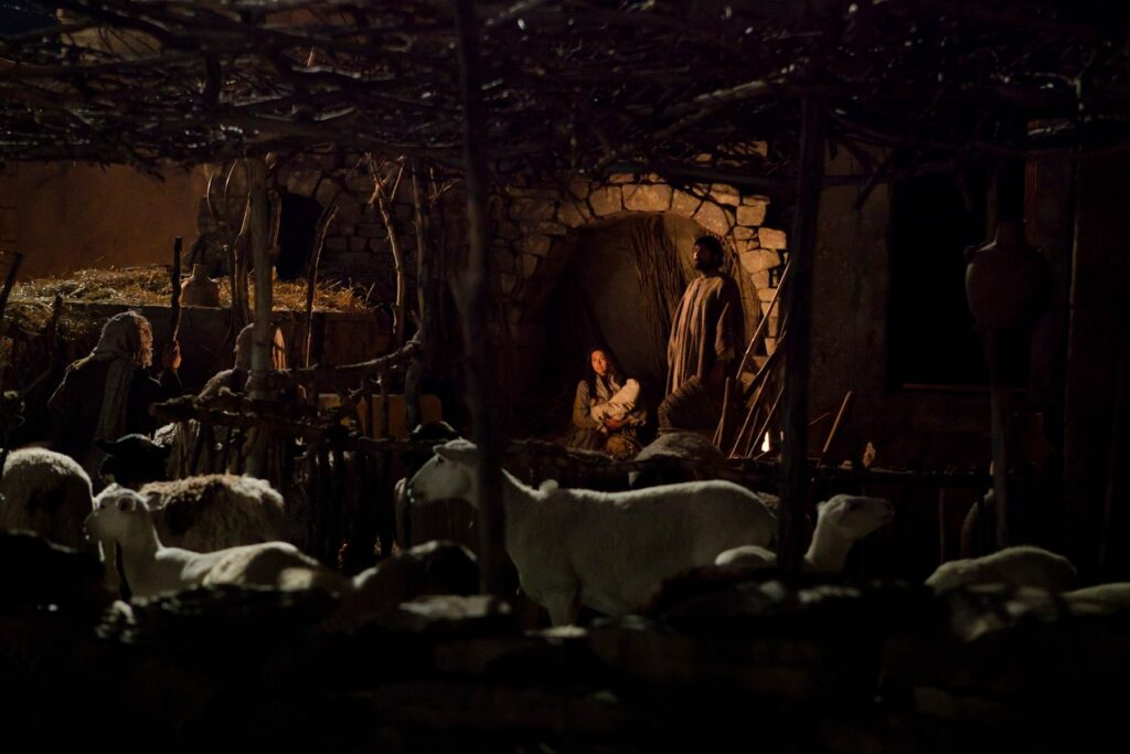The shepherds find baby Jesus, Mary and Joseph in this scene from the Bible Videos.