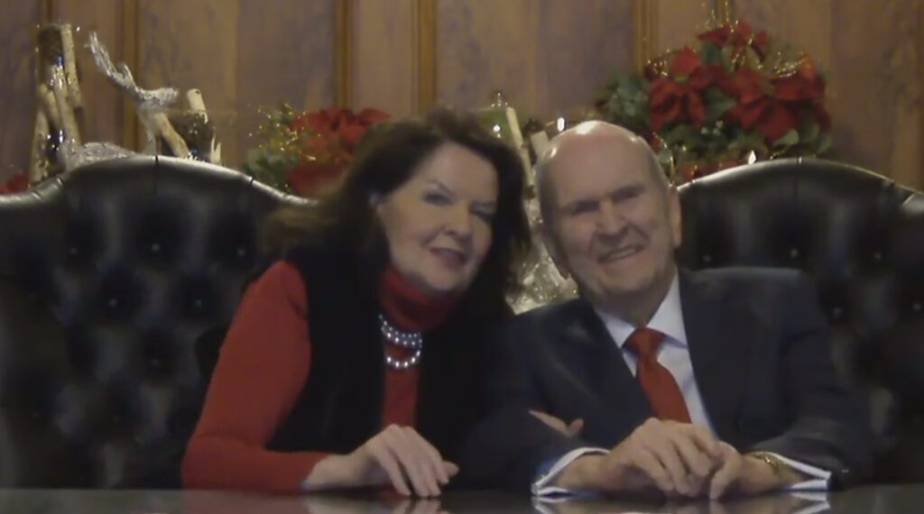 During a 45-minute virtual gathering on Sunday, Dec. 20, 2020, President Russell M. Nelson of The Church of Jesus Christ of Latter-day Saints and his wife, Sister Wendy W. Nelson, watch as Nelson family members sing Christmas carols and share photographs of family members recreating the Christmas Nativity.