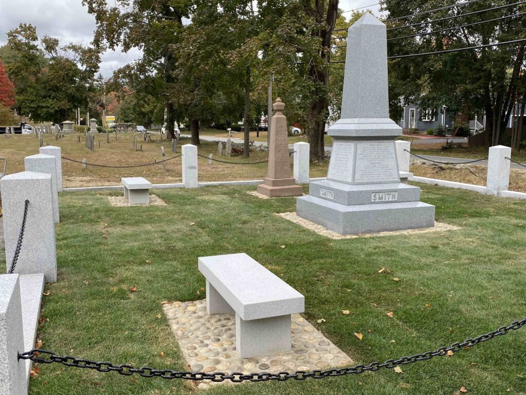 The new monument in Topsfield's Pine Grove Cemetery stands next to another Smith marker, placed in 1873 under the direction of George A. Smith, a cousin to the Prophet Joseph.