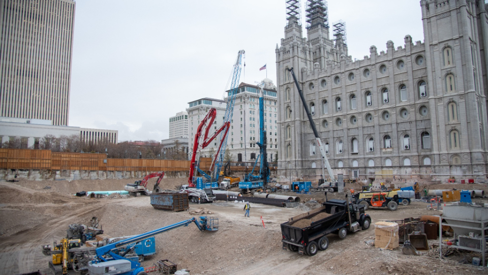 Excavation work continues on the north side of the Salt Lake Temple prior to construction of new temple facilities in November 2020