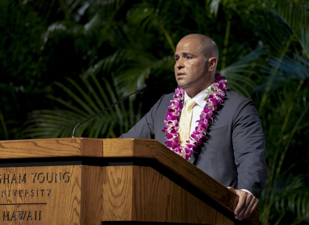 BYU–Hawaii President John Kauwe speaks during a devotional broadcast on Jan. 12, 2021.