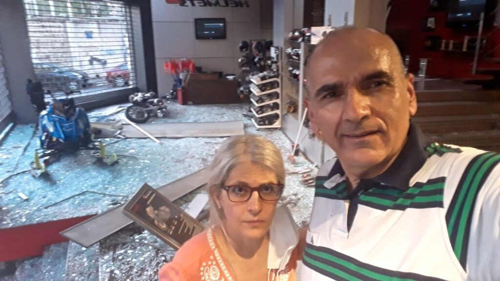 Beirut District President Maroun Akiki and his wife, Roula, in the shop President Akiki manages, which was heavily damaged in the explosion on Aug. 4, 2020.
