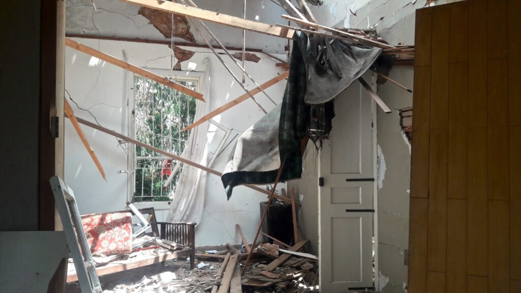 One of the homes destroyed by the explosion in Beirut, Lebanon, on August 4, 2020.