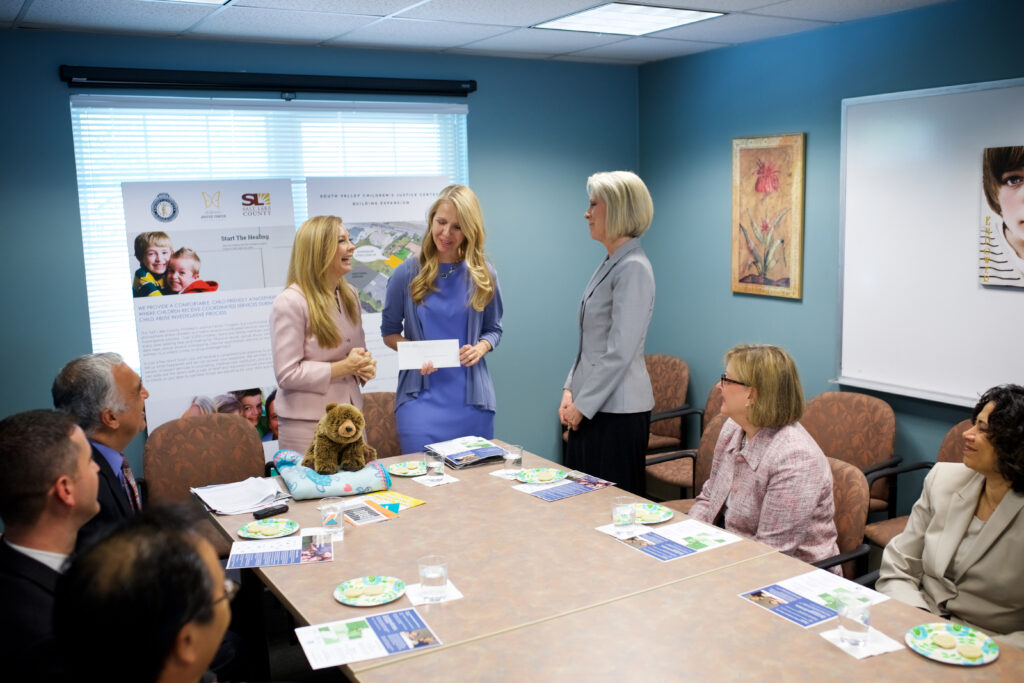 President Joy D. Jones, right, Primary general president, visits with Tracey Tabet, left, administrator of the Utah Children's Justice Center program, and Susanne Mitchell, center, director of the Salt Lake County Children's Justice Centers, April 20, 2017.