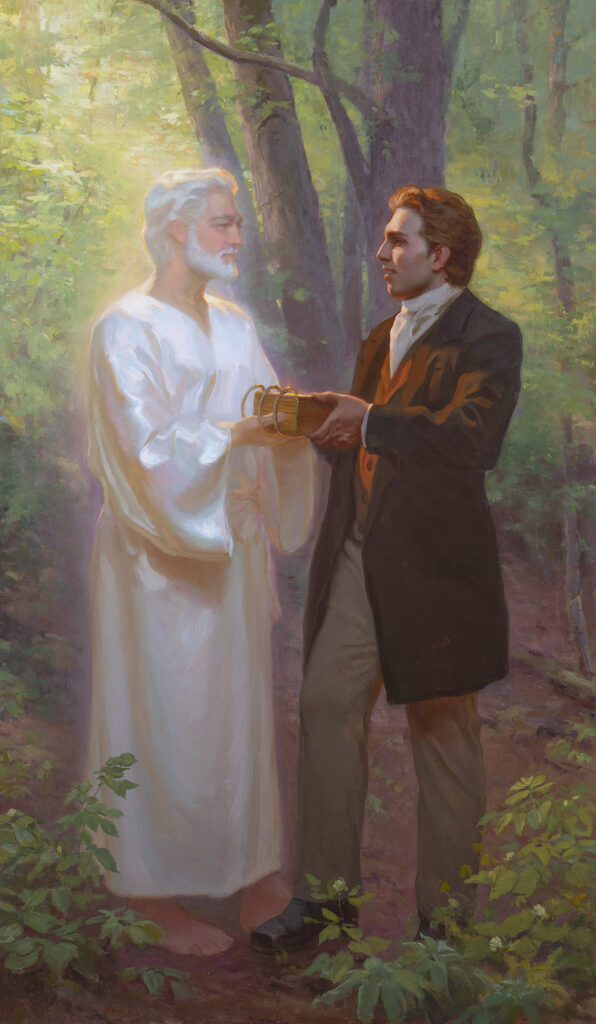 """""""Returning the Gold Plates to the Angel Moroni,"""" Linda Curley Christensen, Michael Malm, 2020, oil on canvas."""