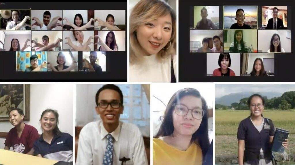 Images of young adults are shown during the worldwide devotional with Elder Gerrit W. Gong and his wife, Sister Susan Gong, on Sunday, Jan. 10, 2021.
