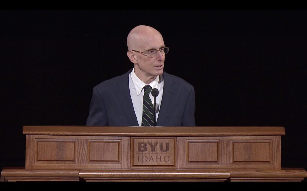 BYU-Idaho President Henry J. Eyring speaks during the campus devotional broadcast on Tuesday, Jan. 12, 2021.