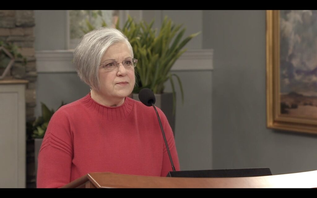 Sister Alynda Kusch speaks during an Ensign College campus devotional broadcast on Tuesday, Jan. 12, 2021.