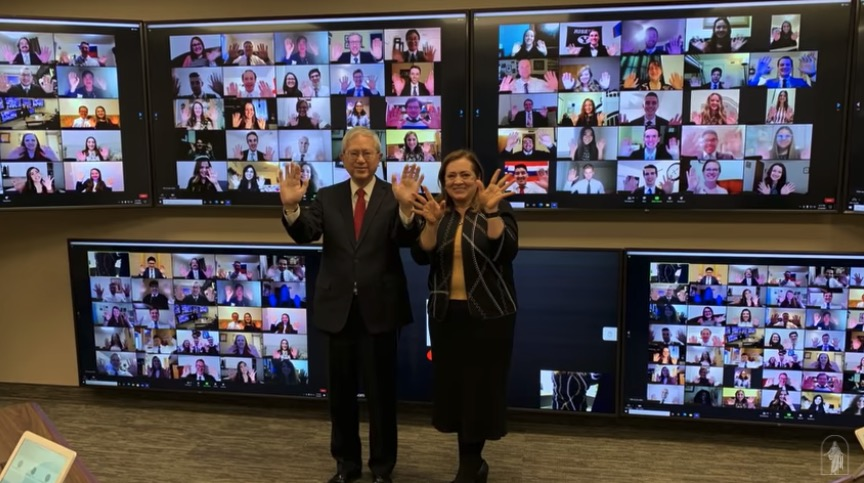Elder Gerrit W. Gong and his wife, Sister Susan L. Gong, take a picture with 100 young adults on Zoom after their worldwide devotional address on Jan. 10, 2021.