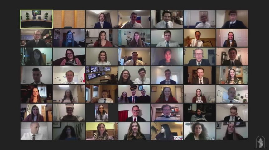 Elder Gerrit W. Gong and his wife, Sister Susan L. Gong, speak with 100 young adults on Zoom after their worldwide devotional address on Jan. 10, 2021.