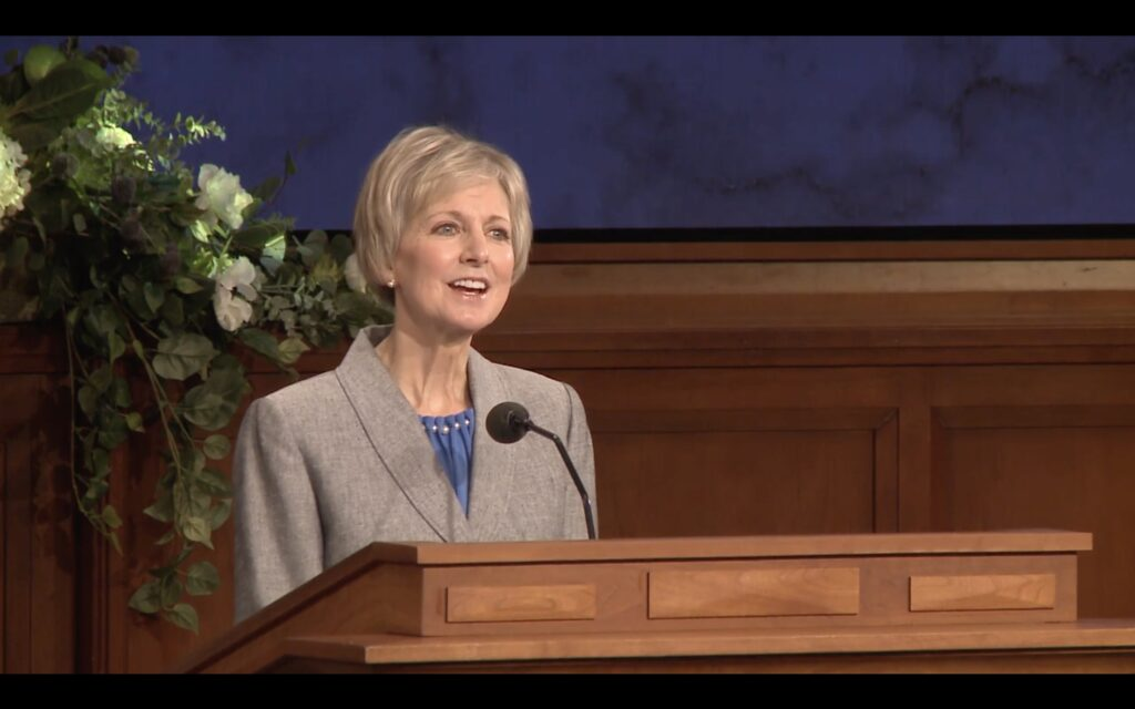 Relief Society General President Jean B. Bingham speaks to Seminary and Institute instructors during an online training broadcast on Tuesday, Jan. 26, 2021.