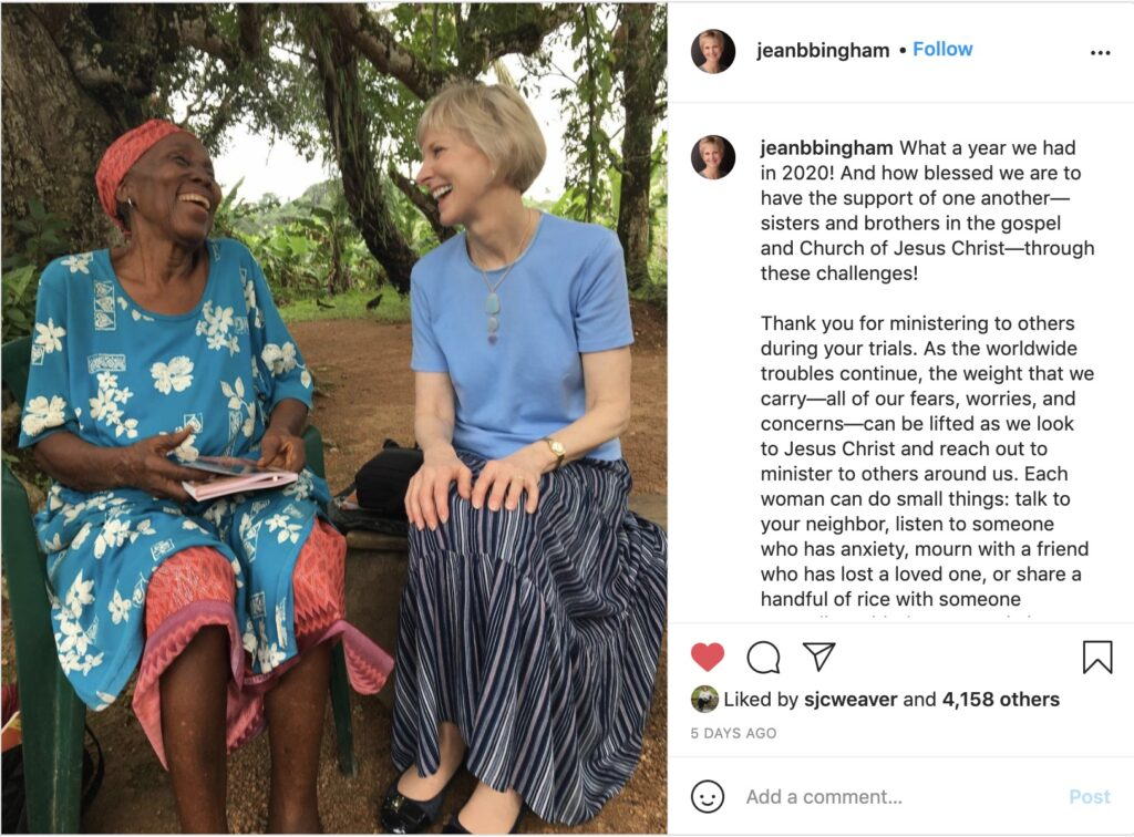President Jean B. Bingham writes about the importance of ministering, in a Jan. 24, 2021, Instagram post.