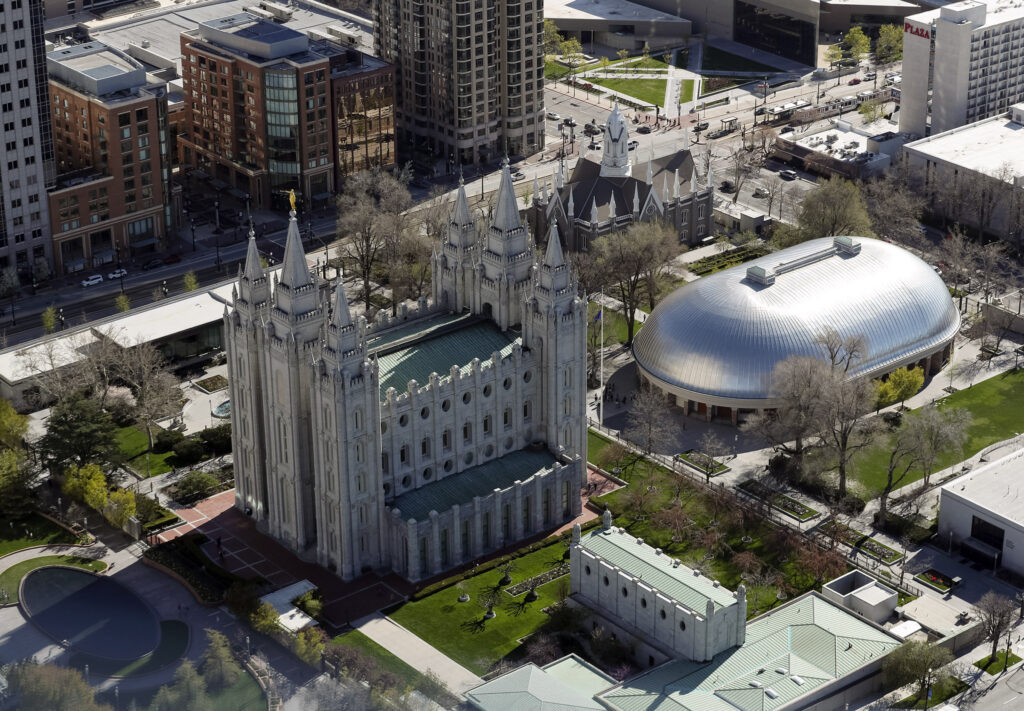 Temple Square and downtown Salt Lake City on Thursday, April 18, 2019. Leadership of The Church of Jesus Christ of Latter-day Saints on Friday announced renovation plans for the Salt Lake Temple and changes to the temple grounds and Temple Square.