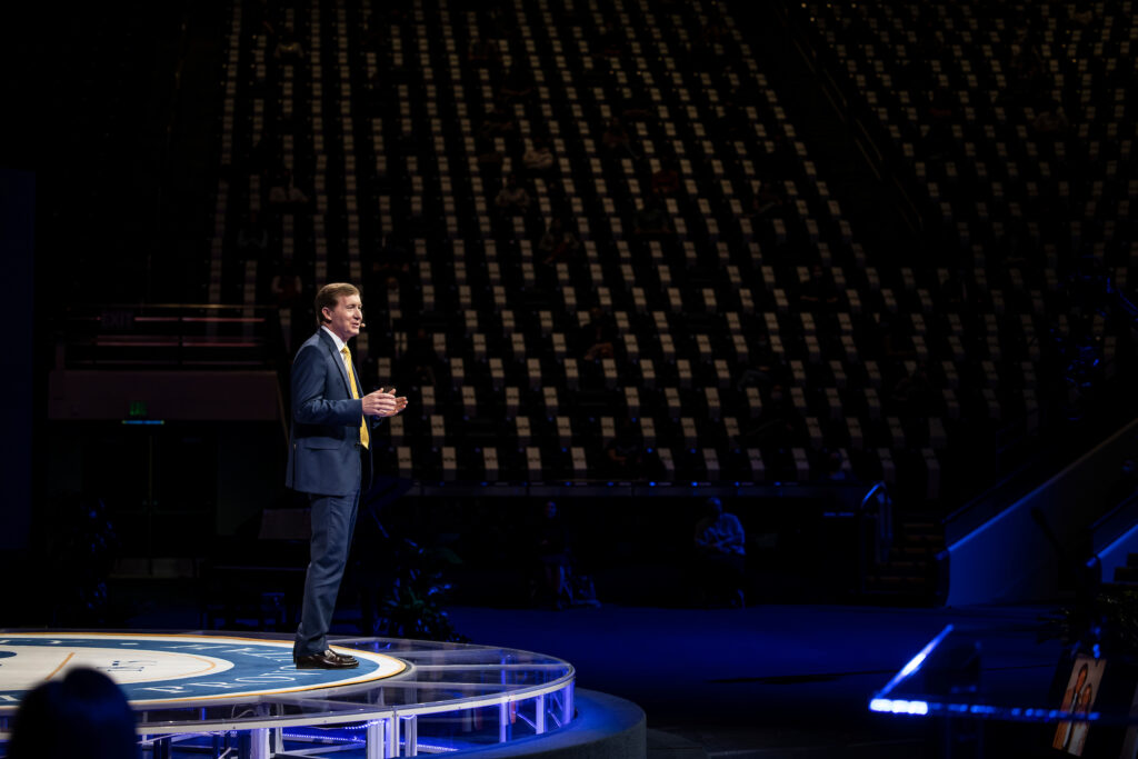 Bishop L. Todd Budge, second counselor in the Presiding Bishopric, speaks in the Marriott Center at BYU for the campus devotional on Feb. 2, 2021.