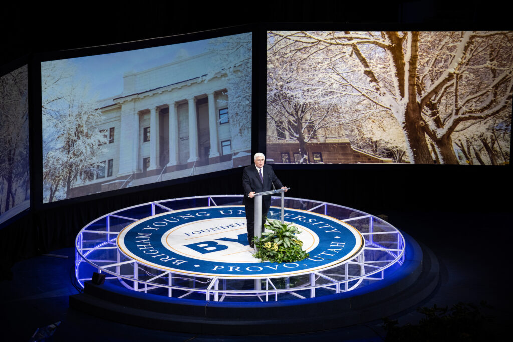 Elder José A. Teixeira of the Presidency of the Seventy speaks during a BYU devotional broadcast on Feb. 9, 2021.