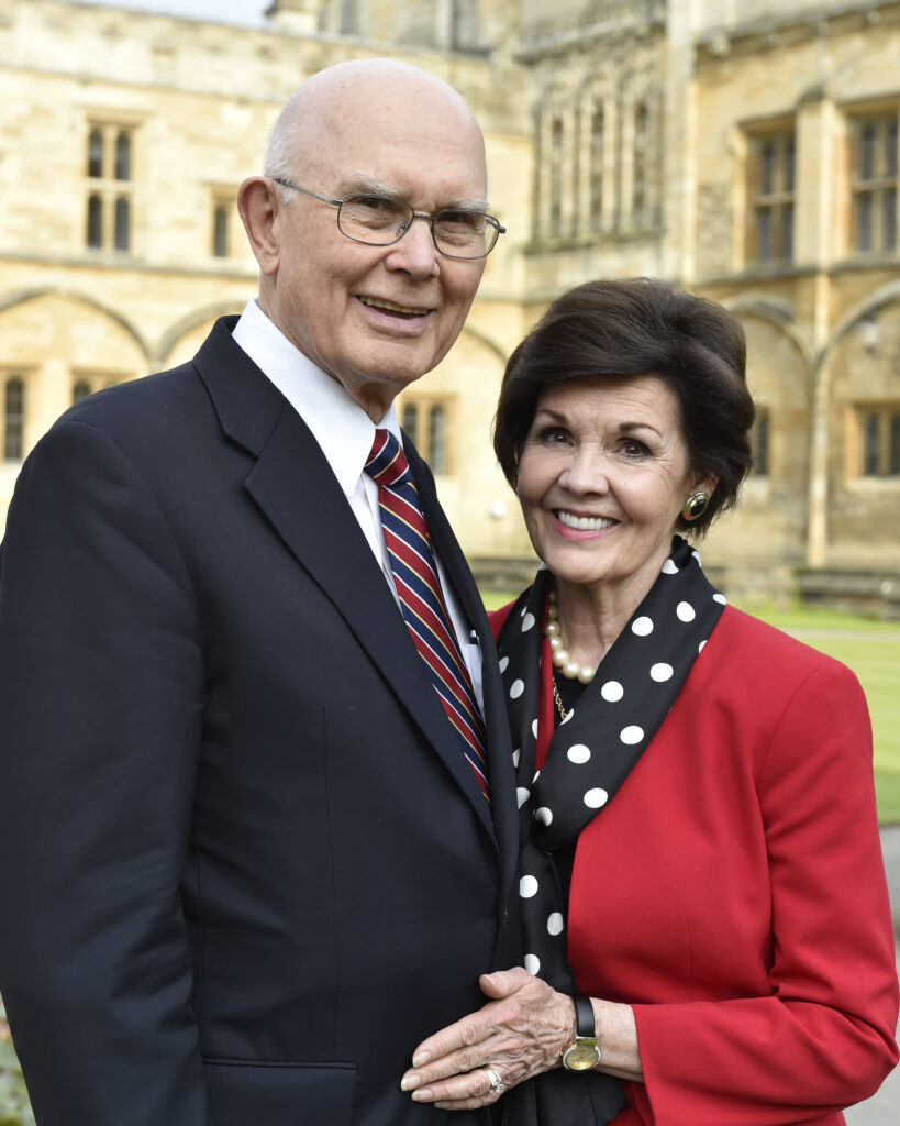 Elder Dallin H. Oaks, with his wife Sister Kristen Oaks, stand on the campus of England's Oxford University.