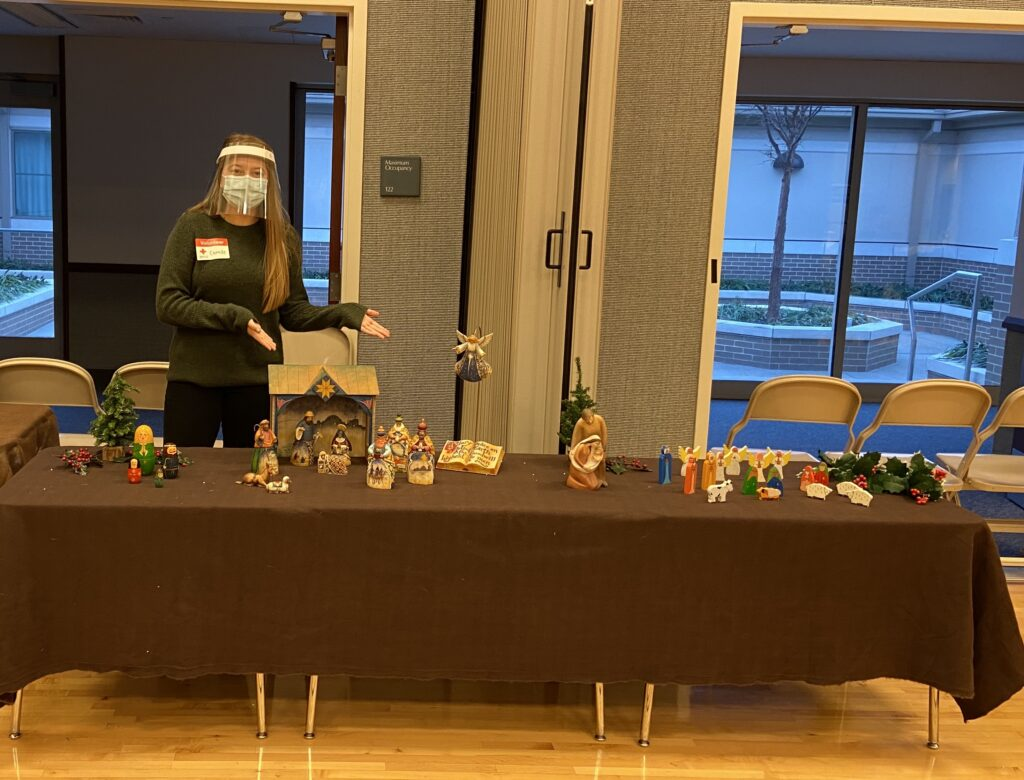 Camille Williams, 16, served on the Indianapolis Indiana North Stake JustServe Blood Drive Committee and set up a creche display to bring Christmas spirit to the 2020 blood drive.
