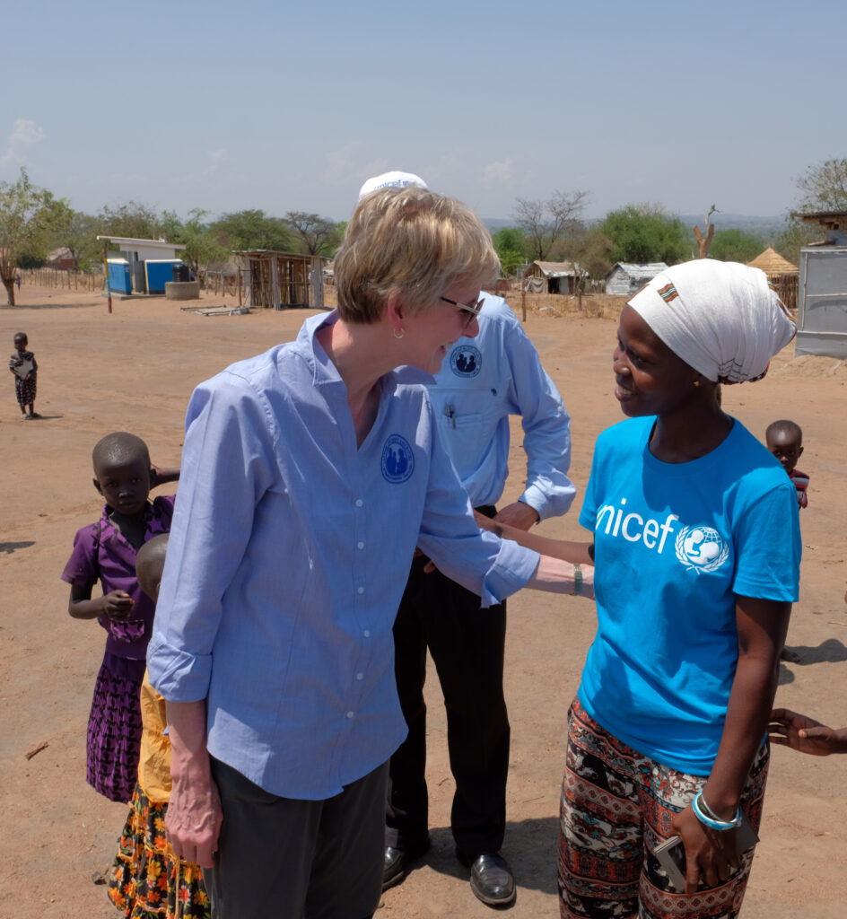 Sister Jean B. Bingham, then of the Church's Primary general presidency, talks with UNICEF child protection officer Fatuma Arinaitwe in Uganda in early 2017.