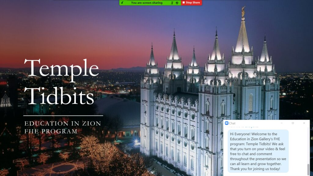 The Feb. 8, 2021, BYU Education in Zion Gallery virtual family home evening focused on the blessings of the temple.