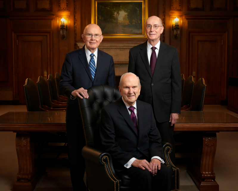 The official portrait of the First Presidency of The Church of Jesus Christ of Latter-day Saints: President Russell M. Nelson, President Dallin H. Oaks, and President Henry B. Eyring. Intellectual Reserve, Inc.
