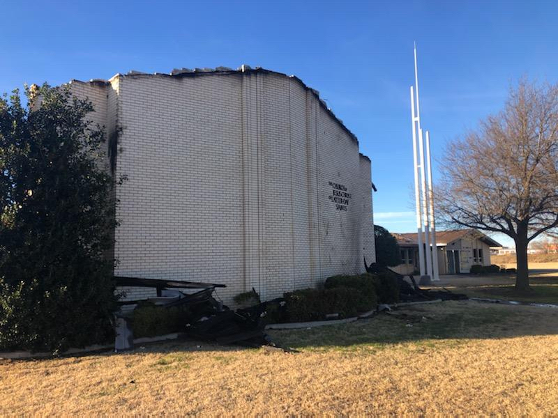 Charred walls are some of what remains after a fire at the Altus Ward building in Altus, Oklahoma, Sunday, Jan. 31, 2021.