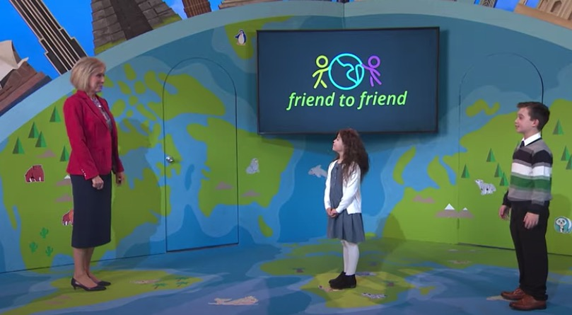 A screenshot from an invitation for children, parents and Primary leaders to participate in the first-ever Friend to Friend event on Feb. 20, 2021, shows Primary General President Joy D. Jones interacting with the children hosts.