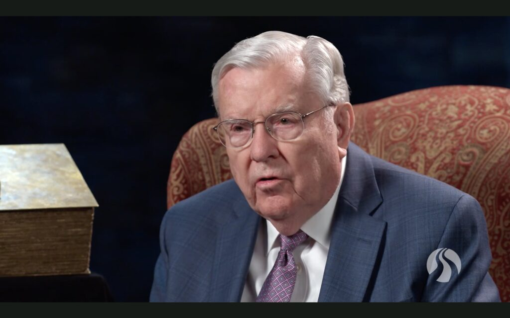 President M. Russell Ballard speaks to BYU-Pathway Worldwide students during a devotional broadcast on Tuesday, Feb. 9, 2021.