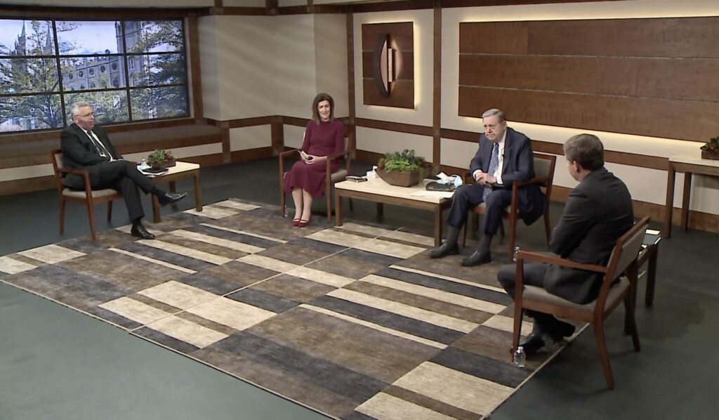 From left: Elder Ruben V. Alliaud, Sister Michelle Craig, Elder Jeffrey R. Holland, and Bishop L. Todd Budge participate in a question-and-answer format devotional broadcast for young single adults in Lubbock, Texas, on Sunday, Feb. 14, 2021.