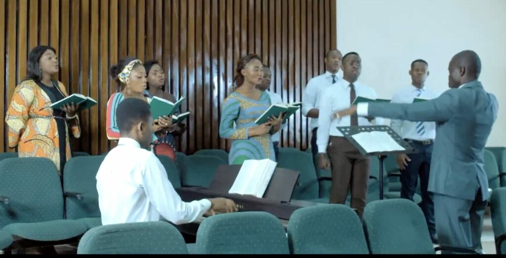 A choir made up of young single adults in Kinshasa, Democratic Republic of the Congo, performs during a devotional broadcast by Elder Neil L. Andersen to French-speaking young adults around the world on Feb. 21, 2021.