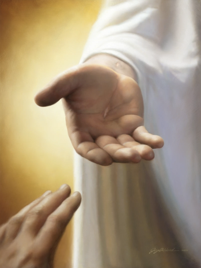 """The finished piece — """"Within Our Grasp,"""" by artist Jay Bryant Ward — as featured in Elder Dieter F. Uchtdorf's Feb. 25, 2021, missionary devotional."""