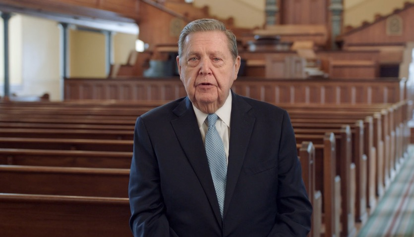 Elder Jeffrey R. Holland of the Quorum of the Twelve Apostles speaks in the St. George Tabernacle during a prerecorded RootsTech Connect Family Discovery Day presentation on Saturday, Feb. 27, 2021.