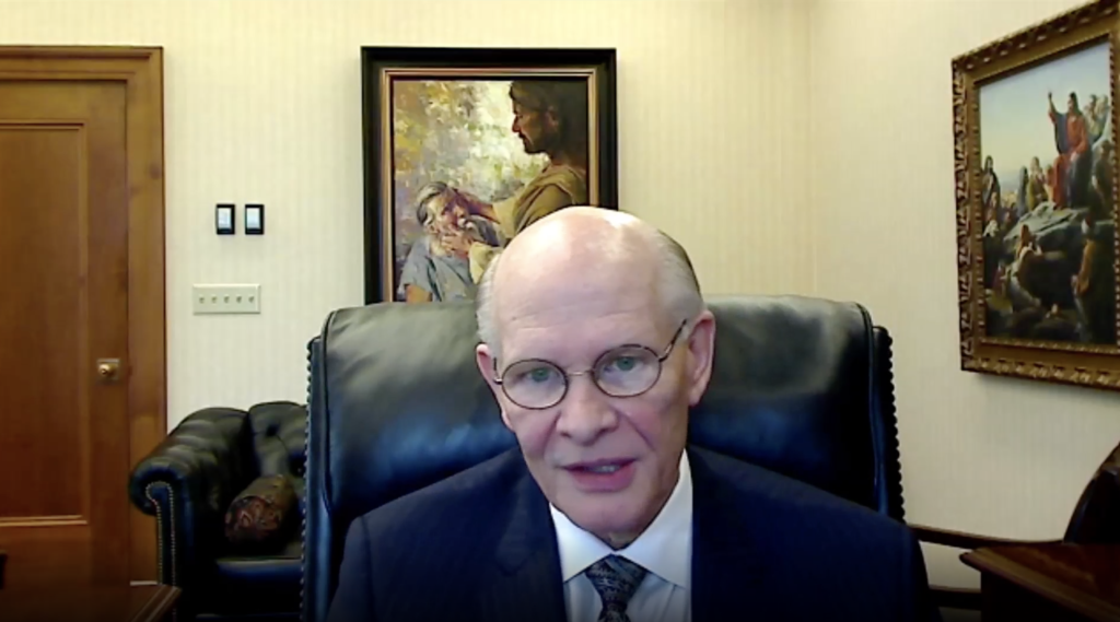 Elder Dale G. Renlund of the Quorum of the Twelve Apostles speaks during the Feb. 25, 2021, Temple and Family History Leadership Instruction broadcast.