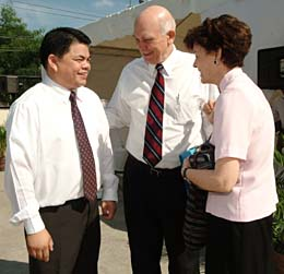 Elder Dallin H. Oaks and Sister Kristen Oaks visit with President Kim Anternorcruz of the Fairview Philippines Stake on occasion of satellite conference.
